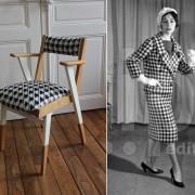 fauteuil bridge années 60 tissu pied de poule noir et blanc