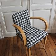 fauteuil bridge années 50 rénové motif pied de poule