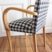 fauteuil bridge années 60 rénové motif pied de poule