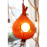 lampe nid de lumiere en rotin orange