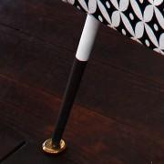 Pouf vintage pieds compas, tissu noir et blanc