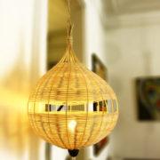 lampe nid d'oiseau en rotin